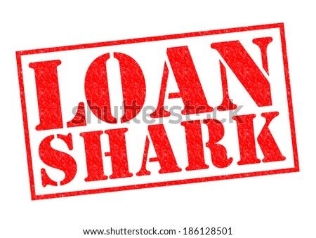 LOAN SHARK red Rubber Stamp over a white background.