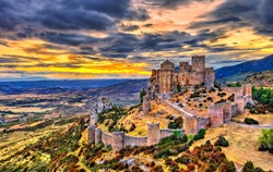 Loarre Castle at sunset. Huesca Province - Aragon, Spain