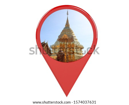 Loation or red pin indicating the location on various tourist attractions in Thailand. 3D illustration. White background - illustration #1574037631