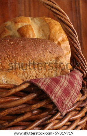 Loaves of bread in a basket.