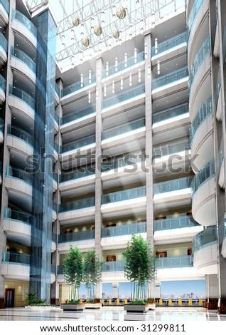 lobby of a modern office building. 3D render