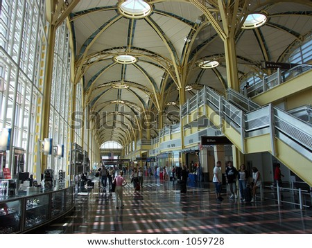 Lobby of the National Airport in Washington D.C. - stock photo