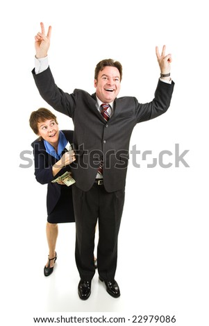 Lobbyist bribing a politician who is campaigning for office.  Full body isolated on white.
