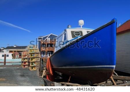 Lobster boat under repair