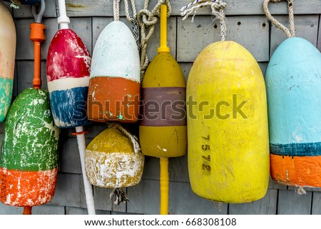 Lobster Buoys on Barn Wall