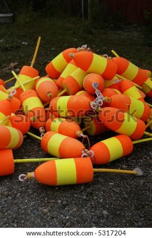Lobster buoys, orange & yellow,Mount Desert Island, Acadia National park, Maine, New England