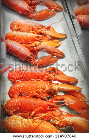 Lobster in a fish market