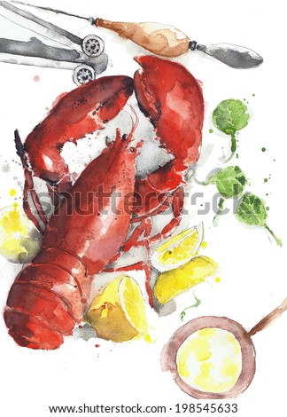 Lobster plate watercolor painting isolated on white background