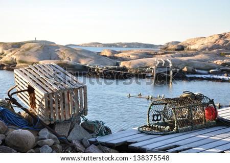 Lobster-pots at the Swedish west coast.
