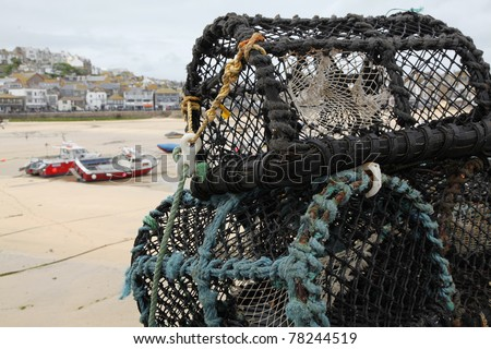 Lobster pots on the quay at St. Ives