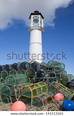 Lobster pots stacked on top of each other at Kirkwall harbour, Orkney