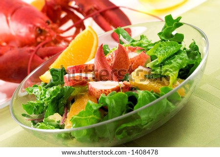 Lobster salad with oranges (shallow DOF)