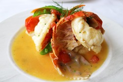 Lobster Tail with Champagne Butter Cream Sauce and Ravioli