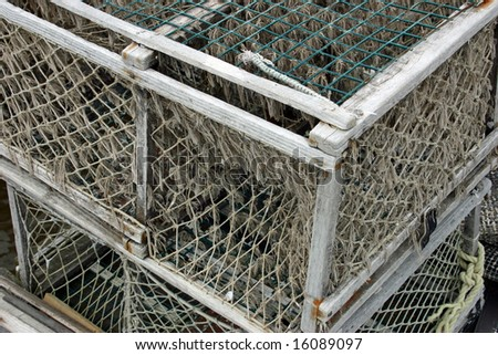 Lobster traps sitting on a New England dock