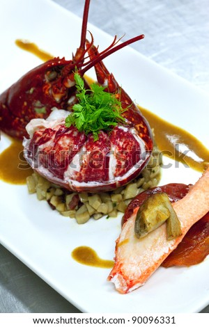 Lobster with mushrooms and sauce with seafood