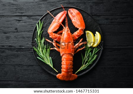 Lobster with spices on a dark background. Top view. Free copy space. Сток-фото ©