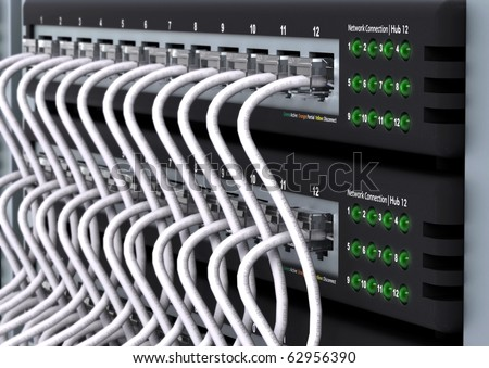 Local area network hub in close up shots