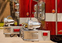 Local fire department red engines on stand by