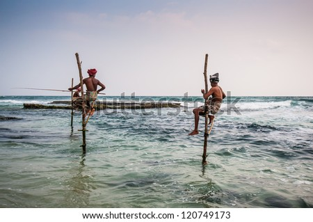 Local fishermen in Ahangama, Sri Lanka.