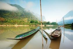 local Long tail boat in mekong river ,laos
