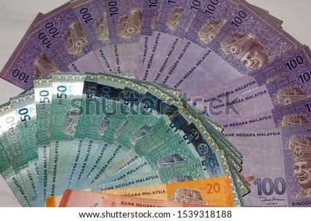 Local Malaysian currency banknotes of different Ringgit, Asia