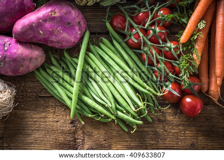 Local market fresh vegetable, garden produce, clean eating and dieting concept #409633807
