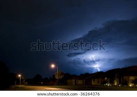 Local Neighborhood Lightning Strike Near Homes in Central Florida the Lightning Capital of the United States