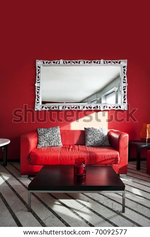 Local red interior, sofa and pillows