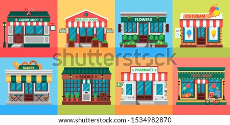 Local shops facades. Grocery shop doors, old boutique store building front and retail stores facade. Supermarket, bistro or pharmacy building, fruit market, pizza or coffee cafe flat  set