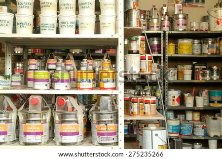 Locarno, Switzerland - 23 August 2010: Paint Cans on a magazine of a painter #275235266