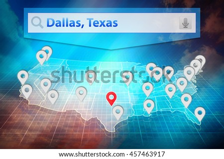 Location Dallas City On The Us Map Text Dallas Texas In The - Us map all white red background