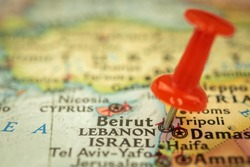 Location Lebanon and Beirut, travel map with push pin point marker closeup, Asia journey concept