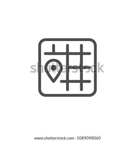 Location line icon isolated on white