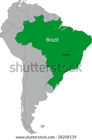 Location of Brazil on the South America continent
