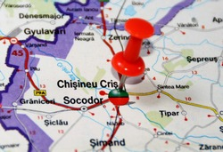 location on the map of the Chisineu Cris city in Romania