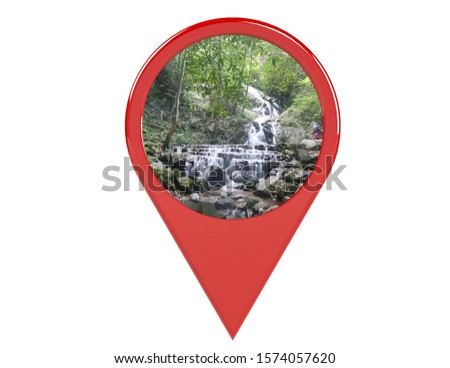 Location or red pin indicating the location on various tourist attractions in Thailand. 3D illustration. White background - illustration #1574057620