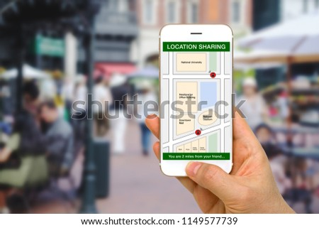 Location Sharing App Concept Shown by Smartphone Screen #1149577739