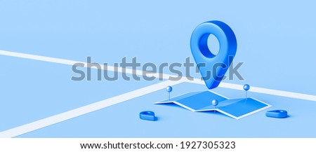 Locator mark of map and location pin or navigation icon sign on blue background with search concept. 3D rendering.
