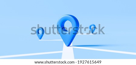 Locator mark of map and location pin or navigation icon sign on blue background with search concept. 3D rendering. ストックフォト ©