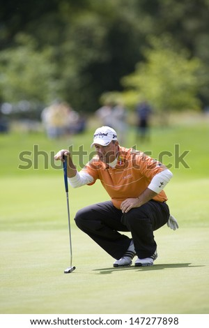 LOCH LOMOND, SCOTLAND - JUL 09 2009; Loch Lomond Scotland; Boo Weekley (USA) competing in the first round of the PGA European Tour Barclays Scottish Open golf tournament.