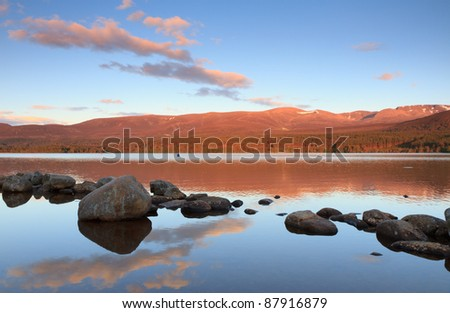 Loch Morlich in the Cairngorms, Scotland - stock photo