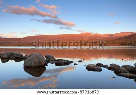 Loch Morlich in the Cairngorms, Scotland - stock photo