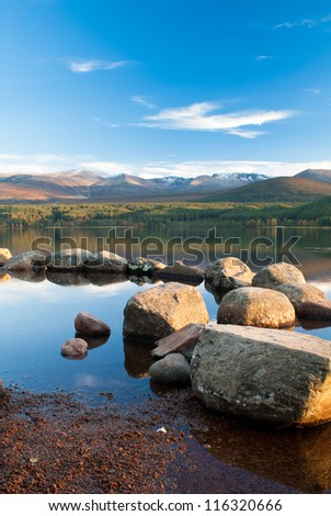 Loch Morlich, Scotland, under a clear blue sky
