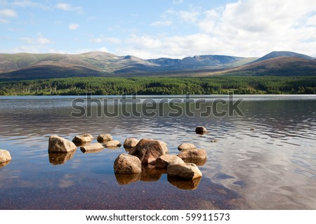 Loch Morlich, Scottish Highlands, with a view on Cairngorm mountain