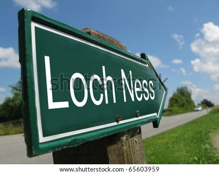 LOCH NESS arrow signpost along a rural road - stock photo