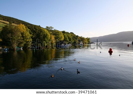 Loch Ness in Scotland on a calm autumn morning.