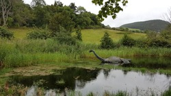 Loch Ness monster trying to run away