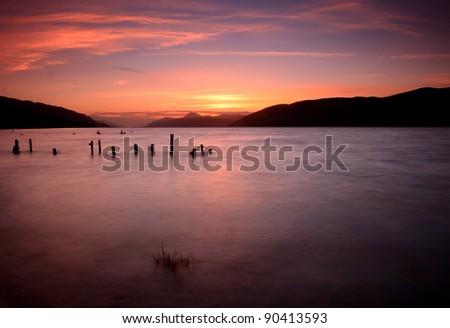 Loch Ness sunset - stock photo