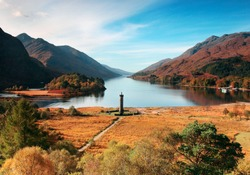 Loch Shiel, Lochaber west coast Scottish Highlands in Autumn / Fall. Site of Glenfinnan Monument to the Jacobite uprising with Bonnie Prince Charlie and lake backdrop to Hogwarts.