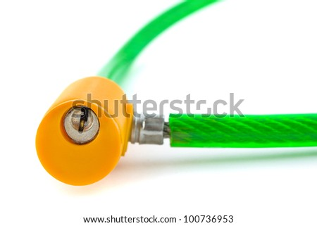 Lock and cable isolated on white background